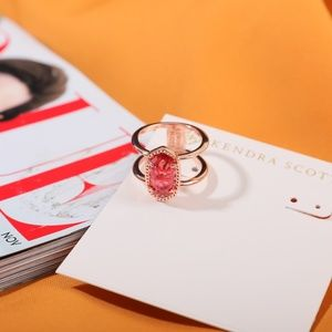 Kendra Scott Ring Size 7 Rose Gold berry red Elyse